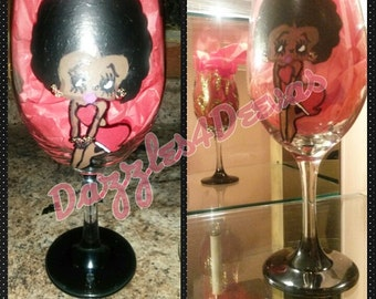 Betty Boop Customized Character Bedazzled Wine Glass