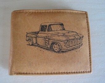 "Mankind Wallets Men's Leather RFID Blocking Billfold w/ ""Mid 1950's Chevy Custom Truck"" Image~Makes a Great Gift!"