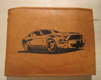 """Mankind Wallets Men's Leather RFID Blocking Billfold w/ """"2008 Shelby GT500 Ford Mustang"""" Image~Makes a Great Gift!"""