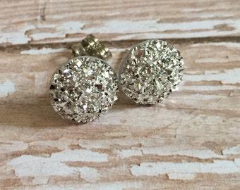 Silver, Resin, Ruff Earrings