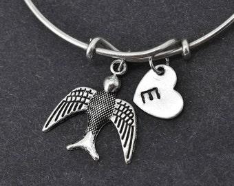 Swallow Bangle, Sterling Silver Bangle, Swallow Bracelet, Bridesmaid gift, Personalized Bracelet, Charm Bangle, Monogram, Initial Bracelet