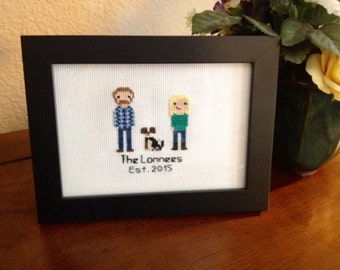 Cross Stitch Couple Portrait