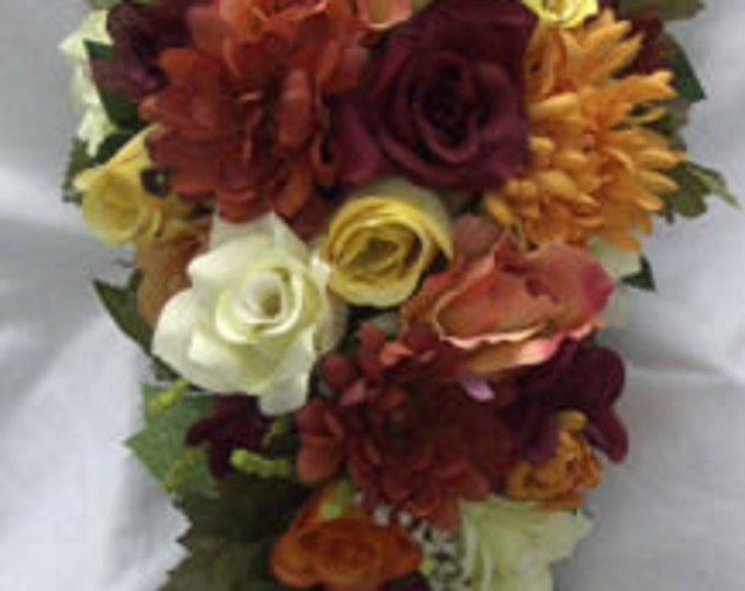 Silk wedding set 21 pieces orange yellow burgundy roses and Asters