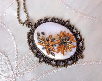 Vintage, interior crafted with FIMO cameo style pendant