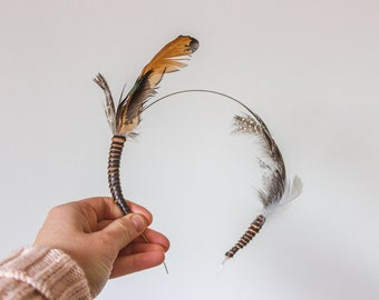 SALE Cruelty Free Naturally Moulted Organic Chicken Feather Headband Indie Bohemian Rustic Folk Fashion Brown Orange Spots Leather Wedding