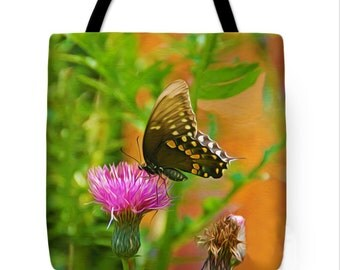 Butterfly Tote Bag, Fine Art on Canvas Tote Bag, Overnight Tote Bag, Gifts, Vacation Tote, Book Bag, Beach Bag, Canvas Handbag, Gift for Her