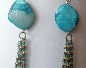 Turquoise beaded dangle earrings