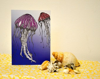 Jellyfish blank greeting card designed by Kay Astle: Intricate Illustrations inspired by nature's beauty