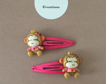 Little Monkey resin snap hair clip