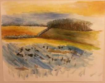 Abstract Painting of a Field - Original Acrylic Painting on Canvas