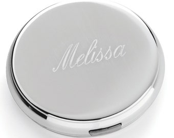 Silver Round Compact Mirror (c141-1147) - Free Personalization