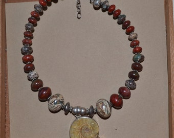 Agate and  fossilized Ammonite Choker **FREE USA SHIPPING**
