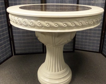 Cottage Chic Neo-Classic Style Marble Top Pedestal Table