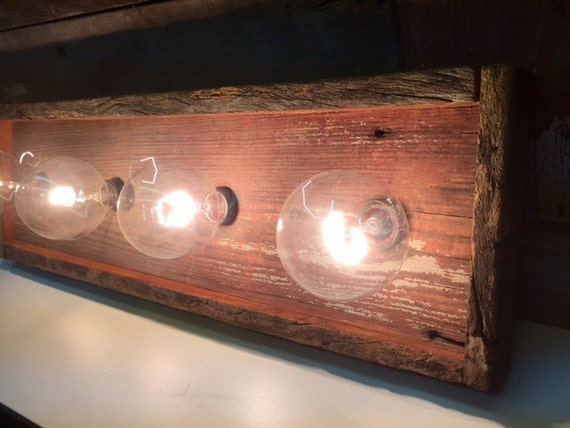 4 Bulb Barnwood Rustic Vanity Light By Woodsedge3 On Etsy