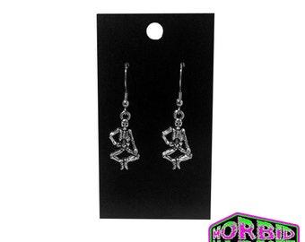 Halloween Skeleton Dangle/Drop Silver Earrings
