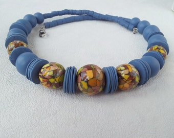 dusty blue mosaic jewelry large beads yellow gray green necklace bright women stylish jewelry gift woman navy blue bead for her necklace