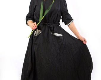 Black maxi cotton dress/Casual loose cotton dress/Long oversize dress/Long sleeves dress/Handmade dress/Maxi dress with pockets/D1371