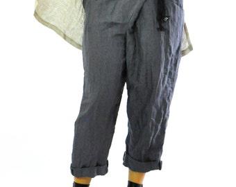 Dark gray PANTS/Casual loose linen pants/Woman casual Dark gray trousers/handmade pants/Maxi loose pants/Gray linen winter pants/P1226