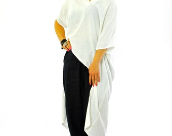 White 100% linen tunic/Casual white shirt/Linen top/Woman loose tshirt/Maxi summer blouse/Oversize summer top/Handmade plus size shirt/S1222