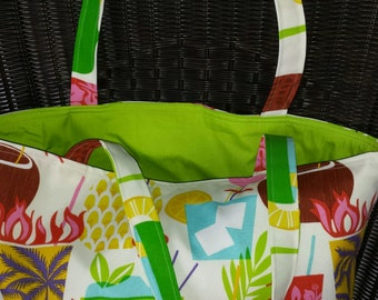 Tropical Beach Tote Canvas Travel Bag with Faux Leather Bottom