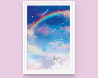 Pokemon Sylveon Poster: Cloud 9, Eeveelution Poster, Pokemon Poster, Anime Poster, Pokemon Art