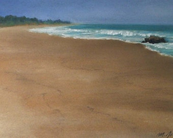 Lonely Rock- small original 7x10 pastel painting california seascape sand waves rocks beach ocean sea