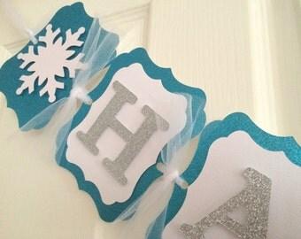Frozen Banner. Happy Birthday Banner. Perfect for FROZEN theme party, winter wonderland birthday. Snowflake banner.Silver Glitter. Princess.