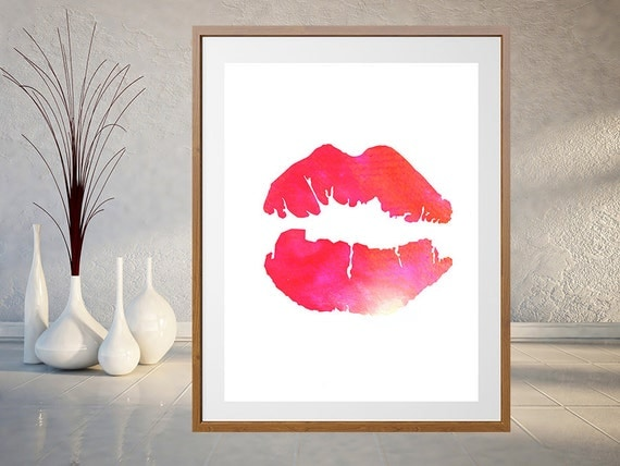 Lips Watercolor Art Print Bedroom Decor Kissing Lips By