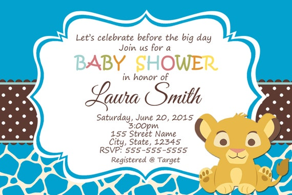 simba baby shower invitation safari babyinvitation baby animals
