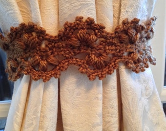 Crochet Curtain tiebacks - bronze (1 pair)