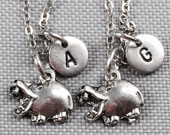 Best friend necklace, hippopotamus necklace, hippo necklace, animal necklace, friendship necklace, bff necklace, friend necklace