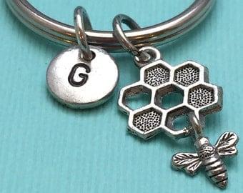 Bee keychain, honeycomb keychain, bee charm, personalized keychain, initial keychain, gift for her