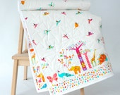 Origami Cranes and Animals Modern Baby Quilt - Quilted Baby Blanket