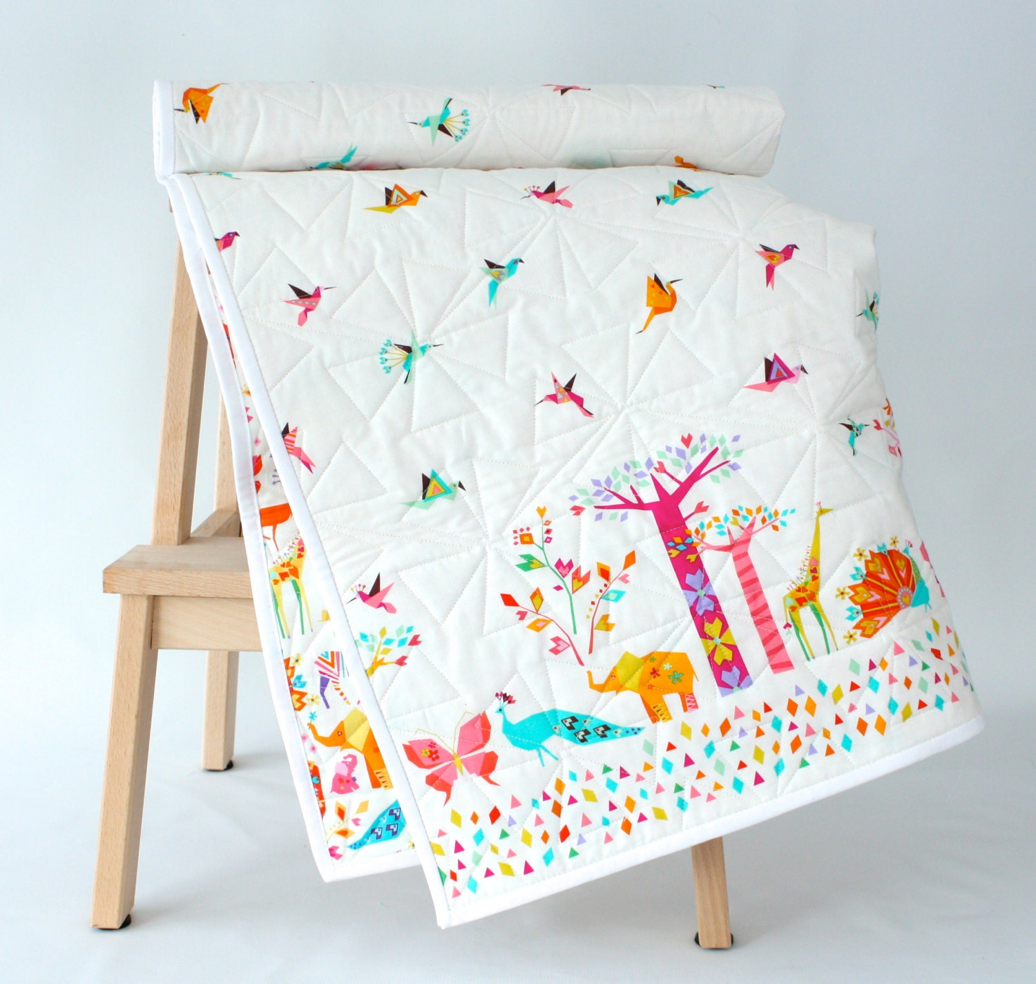 Origami Cranes And Animals Modern Baby Quilt Baby Blanket