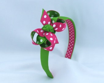Watermelon Headband and Polka Dot Bow