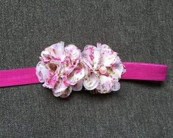 Handmade Baby Headband: Raspberry Pink Headband with Floral Chiffon Flowers