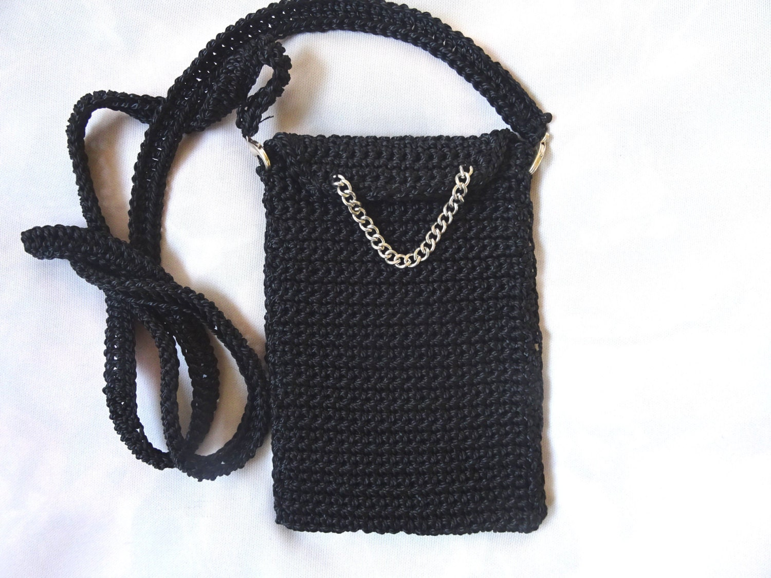Crochet black mobile phone case bag cell phone by ...