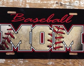 Baseball mom License plate car tag new metal black red baseball mom life choose trim color