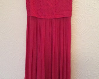 Vintage 80s Indian Rayon Hippy Embroidered Fuscia Pink dress Medium