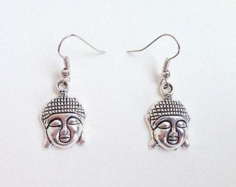 Buddha Earrings - Buddha Head Earrings - Buddha Charm Earrings - Buddhist Earrings - Hook or Clip On Earrings