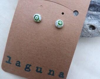 White and green millefiori Venetian glass round earring studs