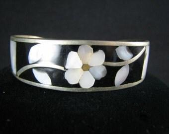 Alpaca Inlaid Vintage Mexican Bracelet