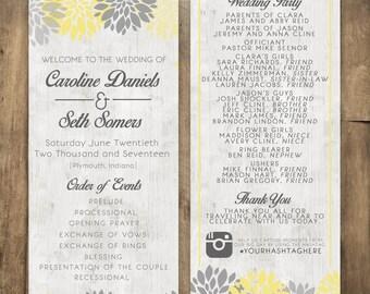Rustic Wood Wedding Program, Country Wedding Program, Yellow and Gray Wedding Program, Rustic Wood Wedding Invitation