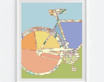 Spokane Washington Bicycle Vintage Map ART PRINT, Bicycle bike biking cycling art, gift for couple her, wedding gift, Gonzaga art All Sizes