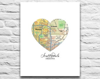 Scottsdale Arizona Heart Map DIGITAL DOWNLOAD for you 2 Print City town home state travel diy ASU Arizona State printable, 8x10 11x14