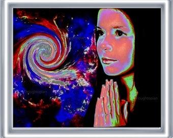 Cosmic Prayer Art Print 8 x 10 – Trippy Psychedeilc - Spiritual - Outerspace - Celestial - Visionary - Festival Art - Surreal Pop Mystical