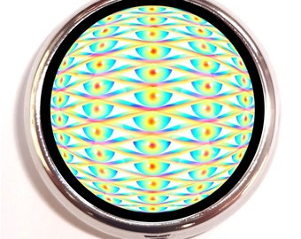 Trippy Eye Pill box Pillbox Case Holder - Third Eye Psychedelic Pop Art - Visionary - Rave - Music Festival - Electric Daisy EDM