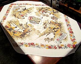 Australia Tablecloth, 'Waltzing Matilda', Song Lyrics, Scenes, Souvenir