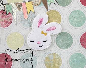 Sweet girl Bunny Digital ITH Feltie Digital Embroidery Design File