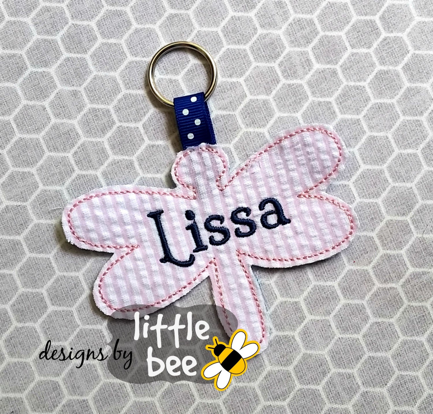 dragonfly sweet summer key fob keychain embroidery applique design monogramming sew pes dst